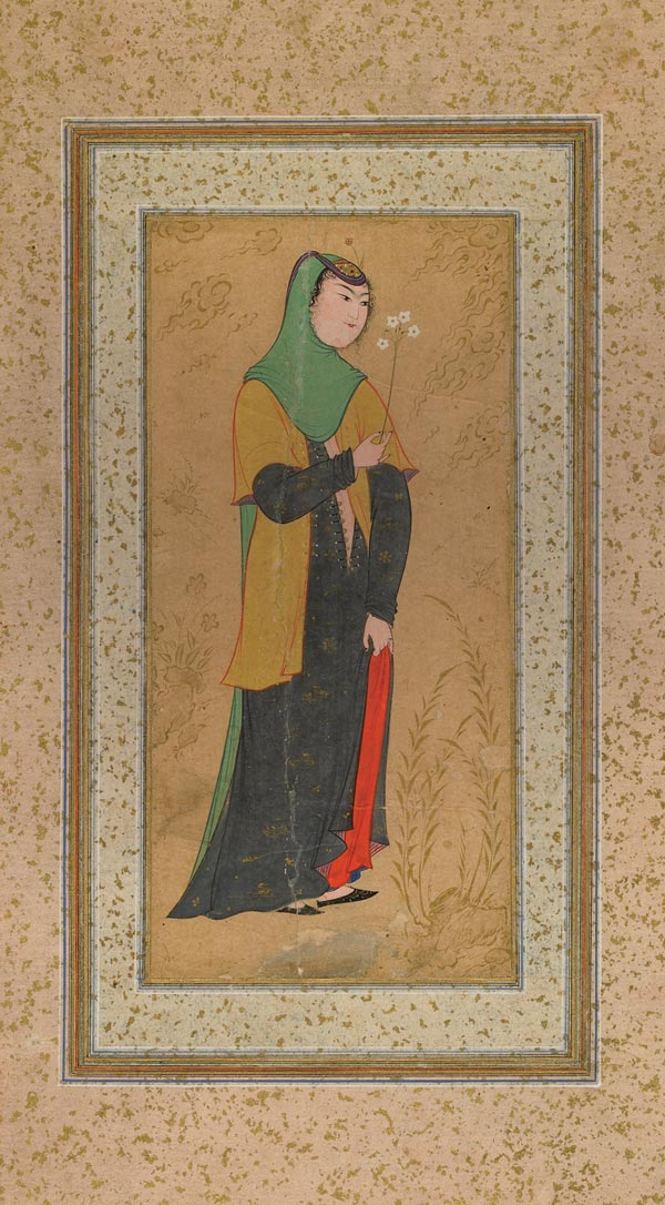 Woman with a Spray of Flowers, opaque watercolor and gold on paper, Isfahan, Iran, ca. 1595
