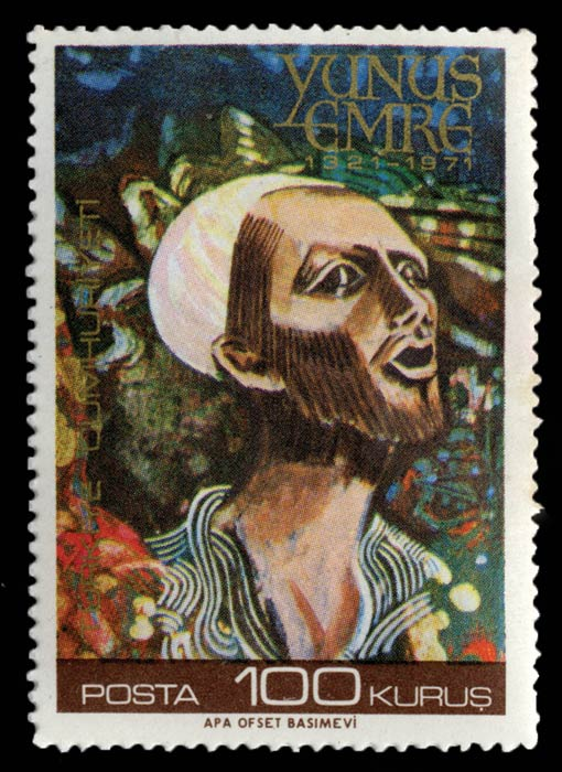 A Turkish stamp from 1971 depicting Yunus Emre