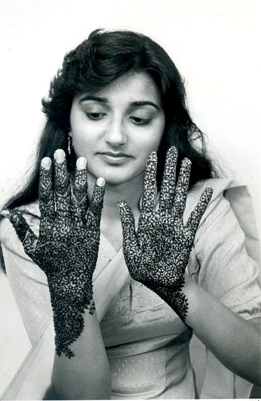 A Pakistani-American bride with traditional mehndi, Queens, NY, 1990