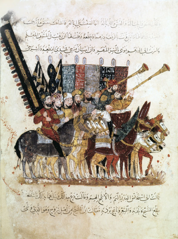 """Procession at the End of Ramadan,"" a 13th-century miniature of the Maqamat (The Meetings) by al-Hariri"