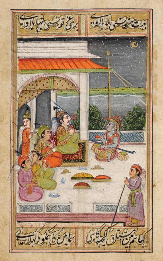 An illuminated miniature of Mir Hasan's Urdu romance The Magic of Eloquence, ca. 1785
